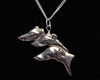 Greyhound Whippet Necklace - 3 dogs - Heads - Jewelry