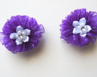 Purple Sparkle Dog Hair Bows