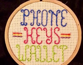 Broad City Phone Keys Wallet Handmade-to-Order Cross Stitch