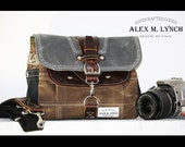 PETITE Waxed Canvas cross body Messenger bag - handmade - field tan + charcoal + leather accents PB0004