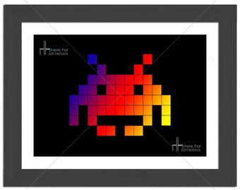 Alien Space Invaders Classic Arcade Game Retro Photographic Print - Various Sizes - Gift Idea