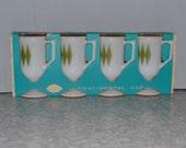 Green Diamond Mugs NOS ~ Federal Glass Mugs ~ Retro Mug ~ Epsteam