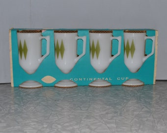 Green Diamond Mugs NOS ~ Federal Glass Mugs ~ Retro Mug ~ Epsteam