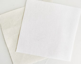 "Pre Cut White 14 Count Aida Fabric 7"" With Calico - Cross Stitch Kit Supplies Re-fill - White Aida & Backing Fabric Perfect for Cross Stitch"