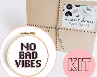 No Bad Vibes Modern Cross Stitch Kit - easy chart design guide great for beginners - pink contemporary bad taste funny quote embroidery kit