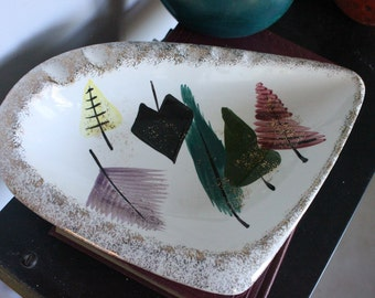 Beautiful Mid Century Ashtray with handpainted TREES - Hand painted abstract , Cigarette or Cigar ashtray, gold flecks, sponge painted