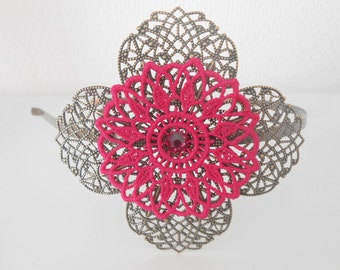 Headband with a big pink lace flower