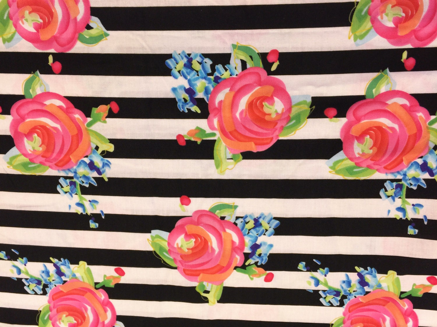 fabric-black and white striped floral fabricthe yard-quilt