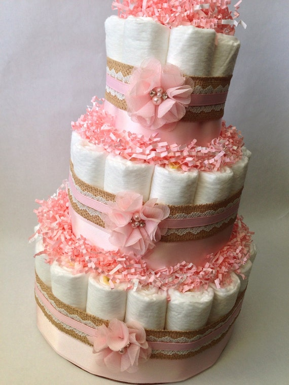 lace pink diaper cake for baby girl baby shower centerpiece new baby