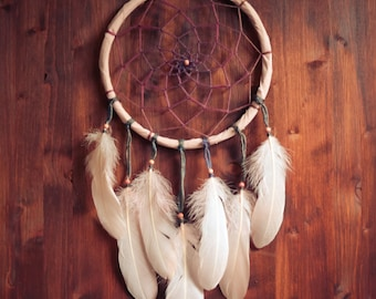 Dream Catcher - Afternoon Delight - With Natural Wool Yarn and Light Rose Feathers - Boho Home Decor, Nursery Mobile