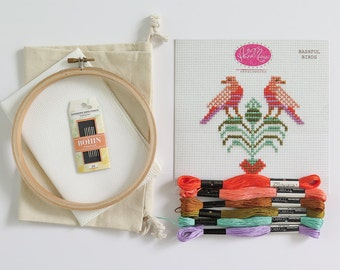 Cross Stitch Kit - Bashful Birds | DIY Beginner Cross Stitch Kit with COSMO Embroidery Thread, Bohin Tapestry Needles, Aida Cloth and Hoop