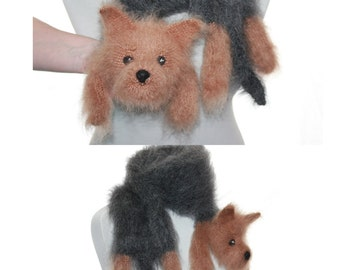 Knitted Scarf dog Yorkie / Yorkshire Terriers / Fuzzy Soft Scarf / black biege  / Dog scarf / knited dog scarf / animal scarf / pets