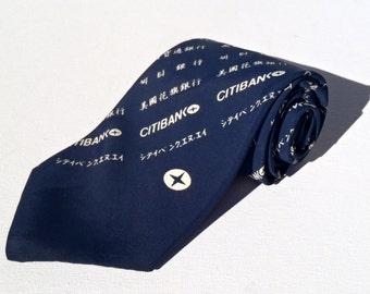 Vintage 1980s Citibank Asia Navy Blue Uniform Tie