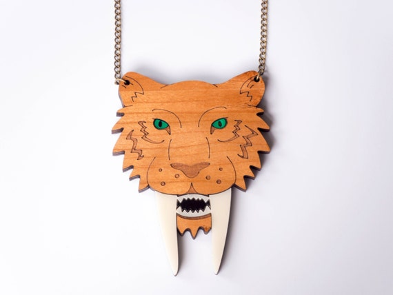 Sabre Tooth Tiger Necklace. Laser Cut Wooden Prehistoric Animal Necklace. Smilodon Necklace. Statement Necklace. Eco Friendly Necklace. Wood