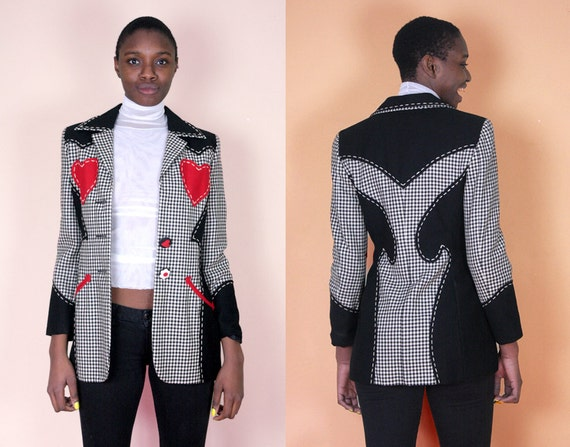 Moschino Jacket Womens Blazer Plaid Jacket 90s Clothing 80s
