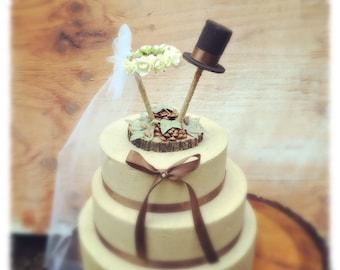 Unique Wedding Cake Topper - Rustic Cake Topper - Pine Cone Wedding Cake Topper - Wedding Cake Topper Vintage