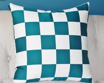 """SALE 20"""" or  18"""" Teal & Ivory Geometric Pillow Cover - Modern Checkered Cushion - Teal Green Check Pillow - Motif Pillows"""