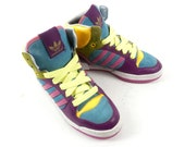 Vintage 80s 90s Hip Hop Adidas Neon Multi Colored Hi Top Sneakers 7.5 US 6 UK