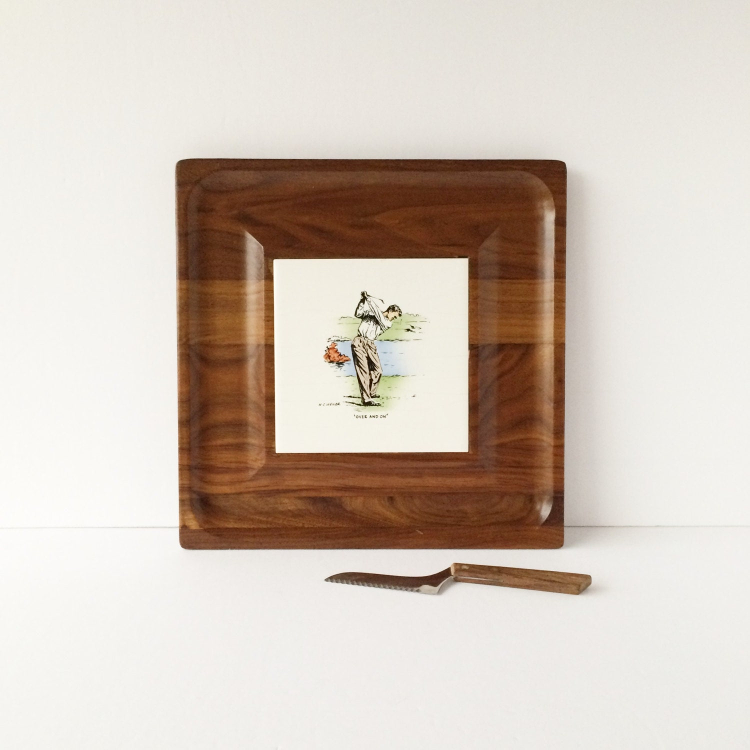 Vintage Golf Motif Cheese Cutting Board Appetizer Serving Tray