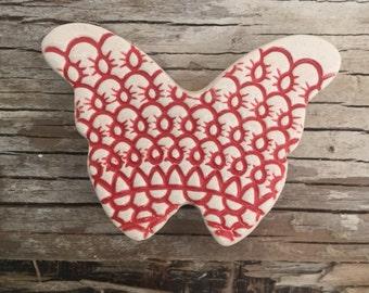 Handmade ceramic textured red butterfly brooch