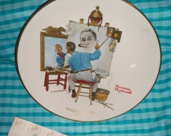 Norman Rockwell Collector Plate ( Triple Self Portrait ) ) Rare 1979 From Museum W/Certificate of Authenticity