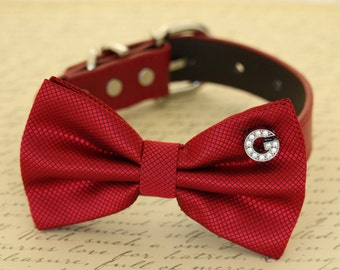 Red Dog Bow tie collar, Initial, Pet accessory, Dog lovers, Valentines gift, Proposal, Dogs birthday gift