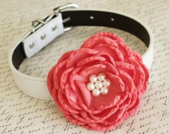 Coral Flower Wedding dog collar, Dog birthday gift, Pet wedding, flowers with Pearls, Wedding dog collar, Coral