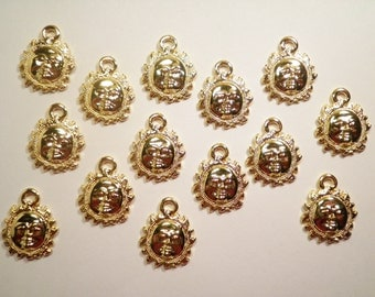 14 Goldplated Sun Charms