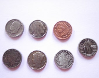 7 Vintage U.S. Coin Charms Stampings Findings