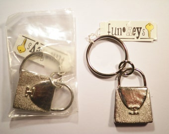 2 Silverplated Pocketbook Keychains Key Rings