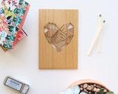 Valentine Card, Geometric Heart Wood Love Card