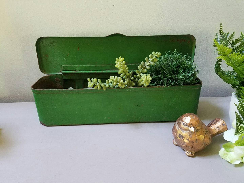 John Deere Flower Pots : Vintage green john deere tractor tool box planter farmhouse