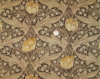 LEE JOFA KRAVET Wm Morris Inspired Art Nouveau Linen Fabric 10 Yards Brown Goldenrod