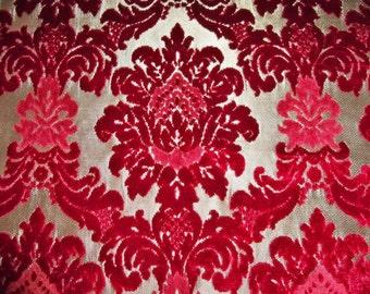 DESIGNER VALENTINA CUT Velvet Damask Brocade Fabric Remnant  Ruby Crimson Gold