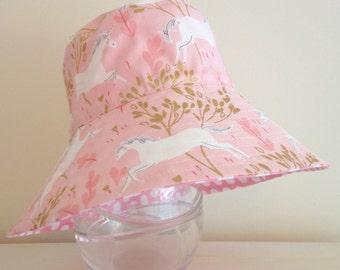 Girls hat in magical unicorn fabric- summer hat, bucket hat