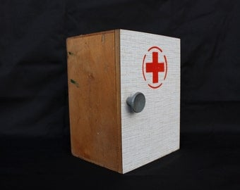 Red Cross Cupboard First Aid Cupboard Medical Cupboard Red Cross Cabinet Locker Soviet Vintage Primitive Home Decor
