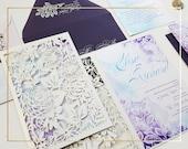 Watercolor wedding invitations, laser cut lasercut wedding invitations {Seville design ~ Sku: SevGer01}