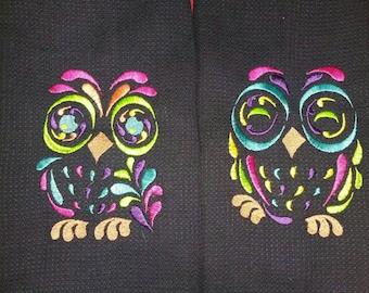 Set of Owl Cup Towels