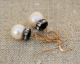 Kate Earrings: Gorgeous large freshwater pearls crowned with rhinestone rondelles on 14k gold filled twisted ring and earwire