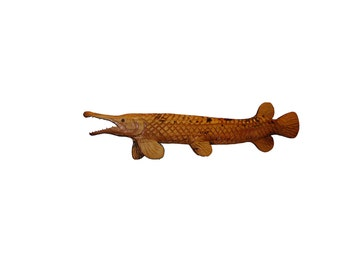 Alligator gar chainsaw carving carved wooden wall art vintage signed Brad Martin wildlife art natural wood cabin decor home fish fishing