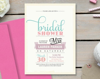 Printable Bridal Shower Invitation - Vintage Poster design with sweet pastel colours (BR38)