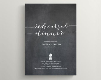 Printable Wedding Rehearsal Dinner Invitation \ Chalkboard Invitation  (RD22)