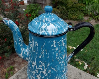 Antique blue and white swirl granite ware coffee pot - 1930's