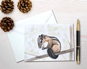 Personal stationery set, chipmunk painting, gardener notecards, chipmunk notecards, art reprint, chipmunk stationery, bird lover cards