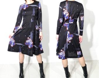 Vintage Black Floral Long Sleeve Dress Size 40