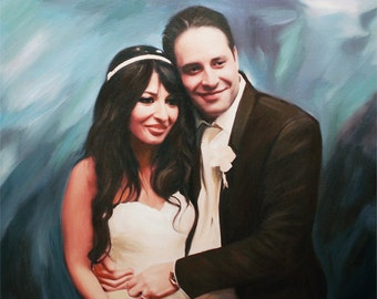 Anniversary Gift - Custom Portrait on Canvas from Your Photos - Hand Painted Oil on Canvas