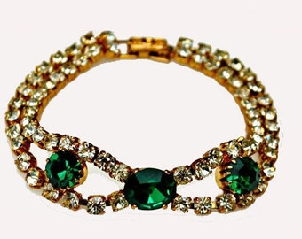 Vintage Green and Clear Rhinestone Bracelet