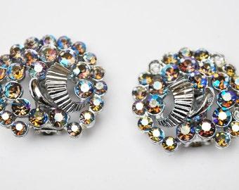 Claudette Rhinestone Earrings Mid Century Aurora Borealis Rhinestone Clip On Earrings