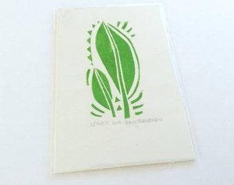 linocut - LEAVES - 4x6 / printmaking / block print / green nature art / leaf print