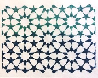 linocut - tessellation - 8x10 / printmaking / block print / blue, green / Islamic geometric design